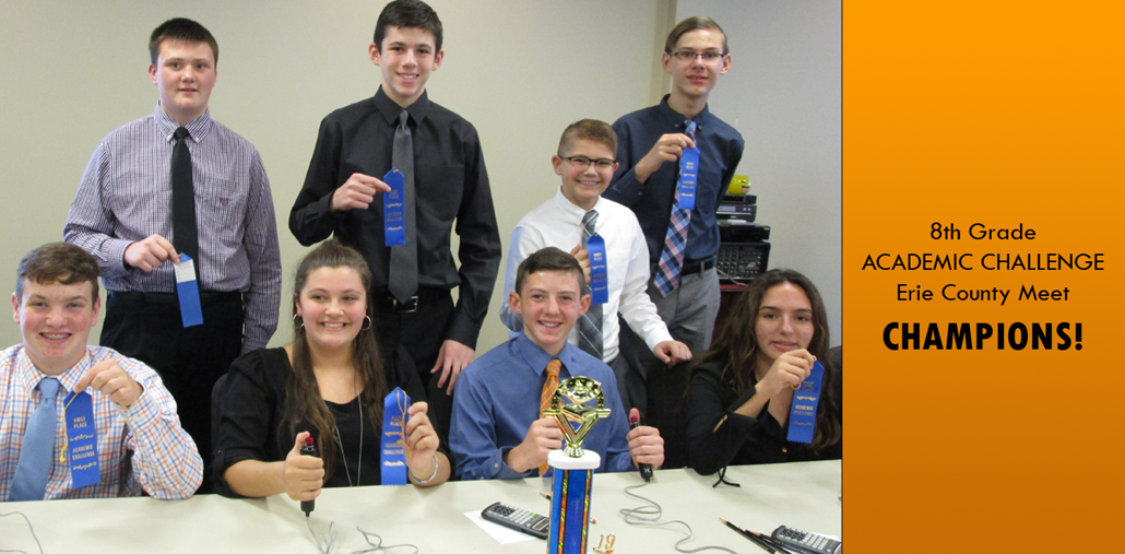 8th grade academic challenge champions for the Erie County meet