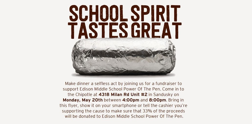 Chipotle School Spirit Fundraiser 5 20 2019