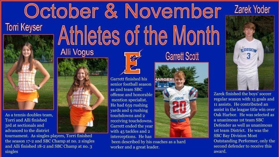 October and November Athletes of the Month