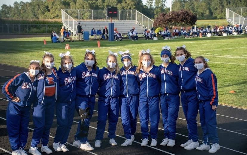 Cheerleaders get together before the game